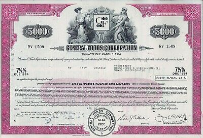 General Foods Corporation 1974, 7 1/2% Note due 1984 (5.000 $)