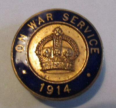 ON WAR SERVICE 1914 - ENAMEL LAPEL  BADGE for war work at home