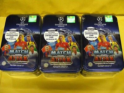3 X  2016/17 match attax CHAMPIONS LEAGUE sealed LARGE COLLECTORS TINS  (16/17)