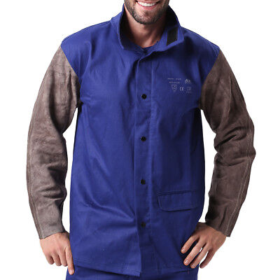 AP-2630 Fire Retardant Cotton Welding Jacket w/ Cowhide Leather sleeves XL / XXL