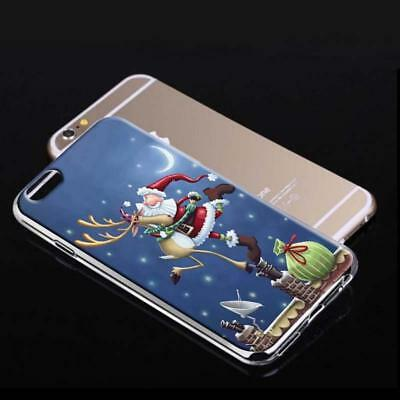 Phone Case for iphone 7 Plus Soft Silicone Christmas Santa elk Print cover case