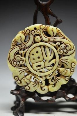 Superb Chinese old jade carved bat&dragon lucky pendant QE15