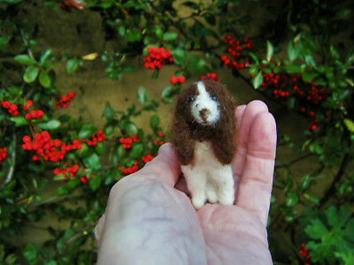 miniature needle felted OOAK English Springer Spaniel Doll's House / Collector