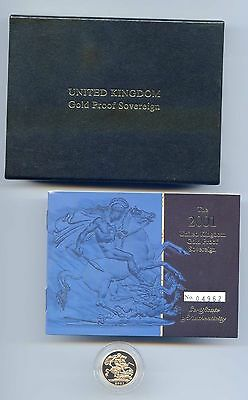 G.b. 2001 Proof Gold Sovereign Case + Certificate