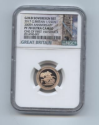 2017 GOLD PROOF 1/2 HALF SOVEREIGN 200th ANNIV.OF MODERN SOVEREIGN NGC-PF70 U.C.