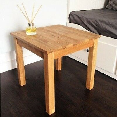 Wooden Side Table Solid Oak Small Brown Square Unit Plant Lamp Telephone Stand