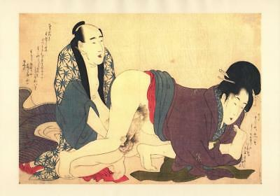 Japanese Reproduction Woodblock Print Shunga Style xy Erotic A4 Parchment Paper