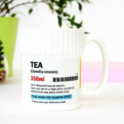 Pill Pot Shaped Tea Coffee Chocolate Mug Ceramic Funny Prescription Pharmacy