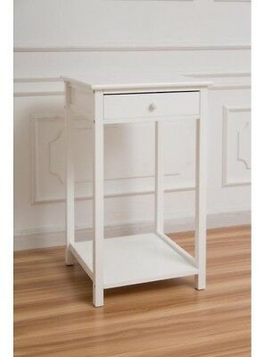 Tall Side Table White Shabby Chic Cabinet 1 Drawer Shelf Wooden Telephone Stand