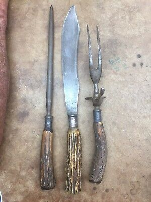1860s Landers Fray And Clark Collectors Knife Fork And Sharpener