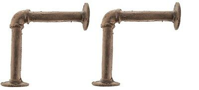 Brown Cast Iron Pipe Bracket   Shabby Chic   Urban Farmhouse  (SET OF TWO)