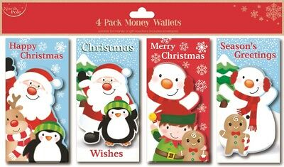 Pack Of 4 Christmas Money Wallets With Envelopes Glitter Detail Cute Characters