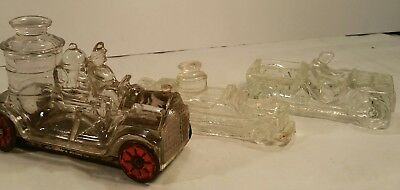 Vintage Original Glass Candy Container Holders 2 Fire Engines and a Jeep