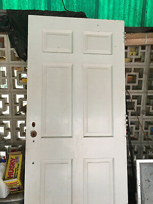 32 Inch Six Panel Sold Wood Colonial Door 1949 Mortised White Antique - 5 Doors