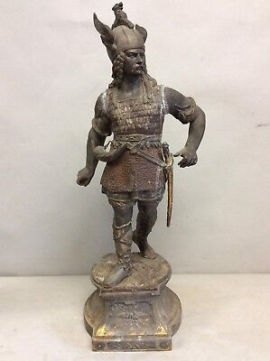 "Spelter Statue of a Norseman Warrior 20.25"" Tall"