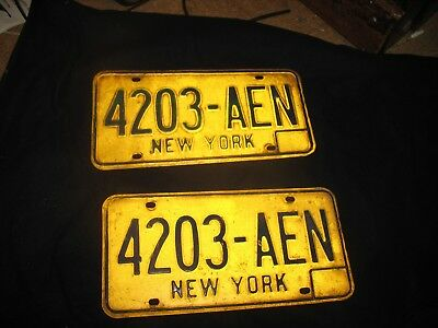 Vintage 1970's New York State NY Yellow Blue License Plate Pair  # 4203-AEN