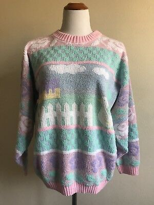 80s Pastel Sweater Fairy Kei L/XL sparkly purple Pink Lurex Has FLAWS Costume