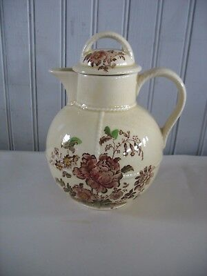 Vtg Charlotte Royal Crownford China Hot Water Jug & lid Coffee Tea Brown floral