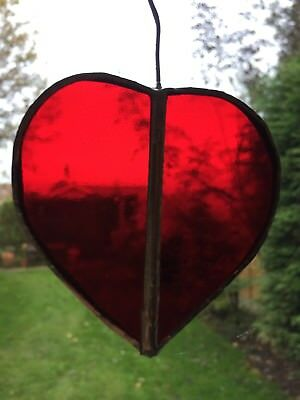 Hand made Stained Glass Red Heart Sun Catcher