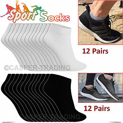 6 12 24 Pairs Trainer Liner Ankle Socks Mens Womens Cotton Rich Sports Socks LOT