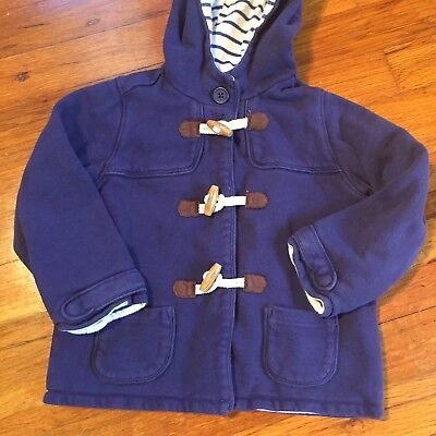 Baby Boden Blue Knit Lined Jacket Hoodie Button Down  Stripe Interior Sz 2-3 Yrs