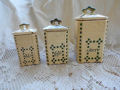 Ancienne Serie De Pot Segonite Graves Faience De Clairefontaine Decor Damier