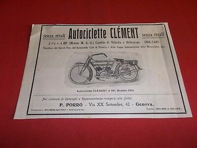Pubblicita 1914 Autociclette Moto Clement 4 Hp Reklame Werbung Advertising