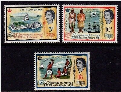 Q.E.II M/NH SET OF 3 FIJI DISCOVERY ANNIVERSARY STAMPS FROM 1966,,,ONLY 49p.