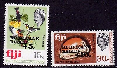 Q.E.II M/NH SET OF 2 FIJI HURRICANE RELIEF STAMPS FROM 1972,,,ONLY 55p.