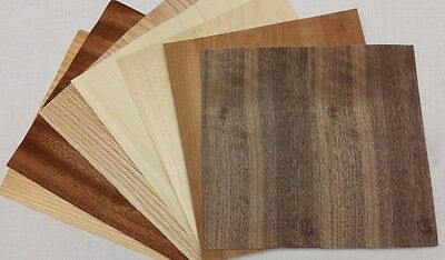 "Variety Pack Wood Veneer, Raw/Unbacked - Pack of 7 - 9"" x 9"" Sheets (~4 sq ft)"