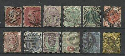 GB QV stockcard with 12 Different used