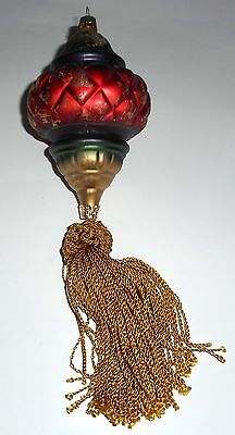 "Czech Republic Glass Ornament Red Gold Green Purple Tassel  9"" Long"