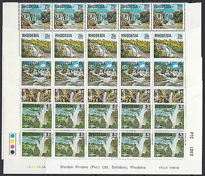 Rhodesia 1978 SG 555-569 definitives 1c-7c cylinder & 9c-$2 lower two rows, MNH