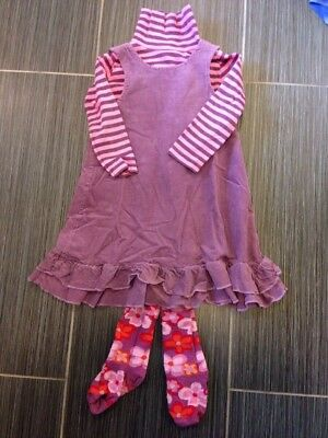 Mini Boden Girls 2-3 Set Corduroy Dress Jumper Floral Tights Striped Top