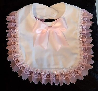 Baby Girl Bib with pink satin bow Romany Spanish Style