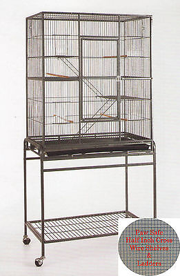 NEW Large 3 Level WROUGHT IRON Animal Cage 1/2 Inch Cross Shelves & Ladders -888