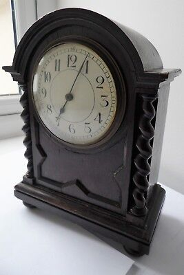 Antique French Made Movement Barley Twist Design Solid Dark Wood Case Clock