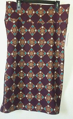 ..LulaRoe Cassie Skirt Knee Lenght Brown Orange Blue Size Large