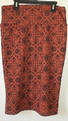 LulaRoe Cassie Skirt Knee Lenght Orange Black Graphic Size 2XLarge