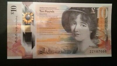 Royal Bank Of Scotland ZZ1 Unique Numbered note ending 666 UNC NEW Polymer