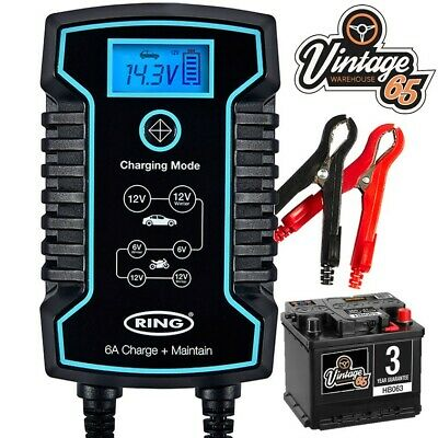 Classic Car & Motorbike Automatic 6-12v 6Amp Intelligent Battery Trickle Charger