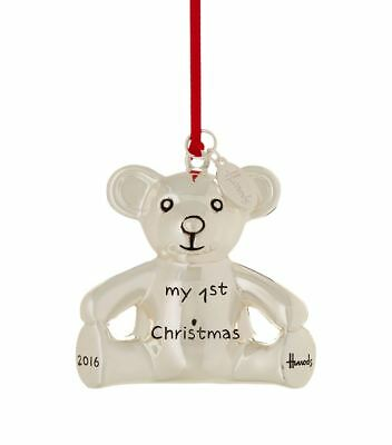 """Harrods Bear Limited Edition Famous """"my First Christmas Teddy"""" Tree Dec 2016"""