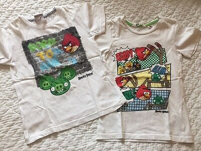 2 tee-shirt, ANGRY BIRDS, blanc, taille 6 ans