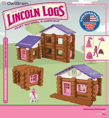 Lincoln Logs Country Meadow Cottage 137 Pieces Education New Free Shipping Pink