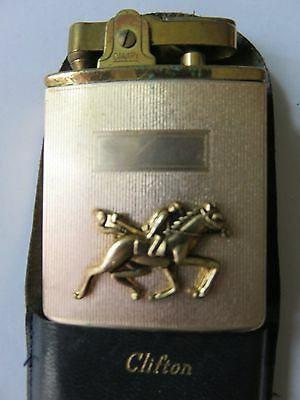 HORSE RACING CIGARETTE MUSICAL LIGHTER * over 50 years old & FRAMED PICTURE -