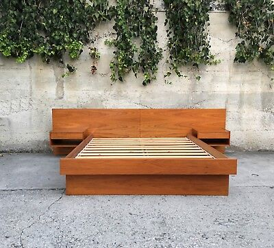 Mid Century Modern Danish Teak Queen Platform Bed w/ Floating Night Stands