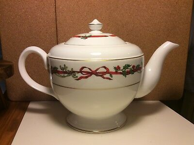 Royal Worcester Holly Ribbons Teapot Brand New Unused