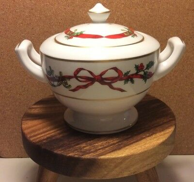 Royal Worcester Holly Ribbons Sugar Bowl With Lid Brand New Unused