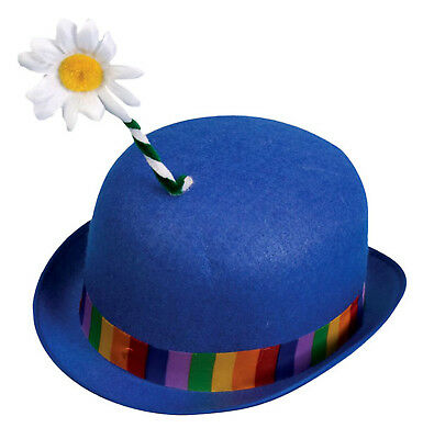 Circus Clown Blue Derby With Flower Adult Costume Hat