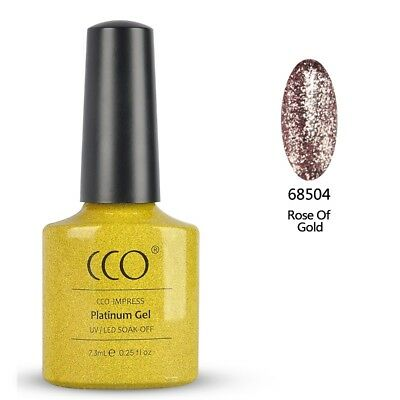 Cco Uv/led Platinum Gel Polish. Rose Gold Glitter Gel Polish